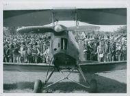 An airplane with audience in the background during Flight Day at Jönköping Airfield - 23 August 1936
