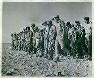 1942 The Libyan Battlefield German prisoners marching together.