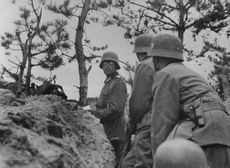 Officer meeting in a trench during Russia - German battle.