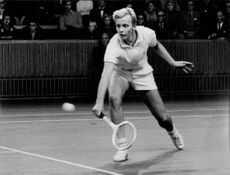 Tennis player Leif Johansson in action at match