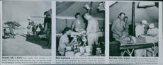 Vintage photo of Surgeons taking shower in first picture, blood transfusion in the second picture and wounded soldier undergoing surgery in the third picture in 1942.