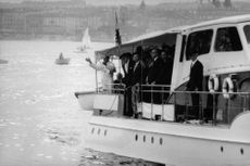 Pope Paul VI in a yacht extending his arms for the people.  Taken - 12 June 1969