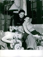 Former Prime Minister of the French Republic, Paul Reynaud with wife Christiane Mabire and their grandchildren.