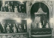 The Royal Theater's 200 years. Queen Alexandrine, King Charles and Princess Margrethe in his lodge