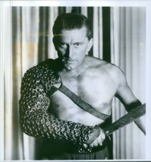 Close up of Kirk Douglas in a scene of film Spartacus.