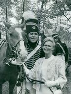 Cadet Goran Ryden with spouse Anne Christine and haste He arkladd in uniform from Morner hussars model 1792.