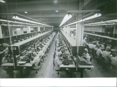 People working in a factory.