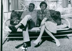 General and Sra. Pinochet in the garden of their home in Santiago. 1975.
