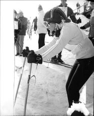 "Robert Francis ""Bobby"" Kennedy's wife skiing on ice."