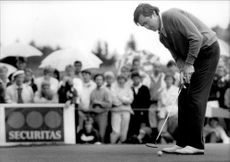Action picture on Seve Ballesteros taken in an unknown context.