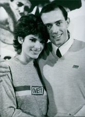 British athlete, Steve Ovett with his wife Rachel, at the London lunch of new sportswear company, 1982.