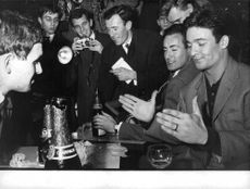 Jacques Charrier enjoying party with friends.