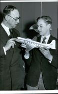 BEA chief Peter Masefield and son Charles with a model of the Viscount planet
