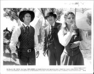 "Mel Gibson, James Garner and Jodi Foster in ""Maverick"""