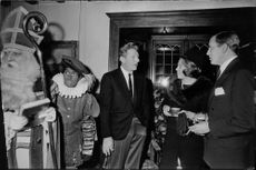 Danny Kaye talking with Queen Beatrix and prince Claus of the Netherlands.