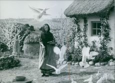 A scene from the movie The Brothers Lionheart with Gunn Wållgren as Sofia, 1977,