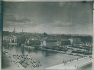 Aerial view of a city. 1924.