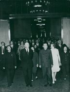 Alec Douglas-Home photographed in the People's Great Hall in Beijing. Here with Chi Pengfei