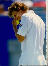 Portrait image of Mats Wilander taken during an unknown match.