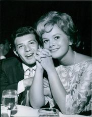 Frankie Avalon dining with Leticia Roman. 1961.