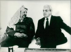 Yasser Arafat with javier peres.