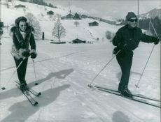 Princess Beatrix skiing in Gstaadt.