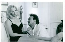 Still of Cybill Shepherd and James Belushi from the film Once Upon a Crime.