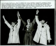 Female medalists in downhill skiing Hanni Wenzel, Annemarie Moser-Proell and Marie-Theres during the 1980 Winter Olympics