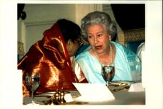 Portrait image of Queen Elizabeth II taken during a state visit in India.