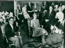 Prince Rainier and Grace Kelly at the bourgeois wedding in the founder's throne hall