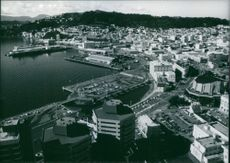 An aerial view of Wellington, New Zealand, 1987.
