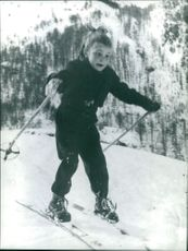 Childhood pic of Marielle Goitschel, skiing.