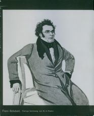 A illustration of Franz Schubert siting in the chair.