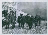 Group of soldiers having mission at snowy country. 1942