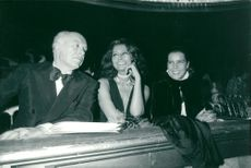 Carlo Ponti, Sophia Loren and Princess Caroline of Monaco at the Champs-Elysee Theater in Paris