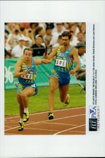 Patrik Strenius and Lars Hedner represent Sweden under 4x100 meters.