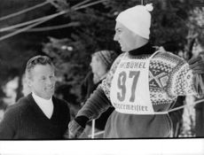 Aga Khan IV participating in a skiing competition.