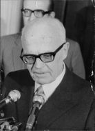 Italian politician, Sandro Pertini, on the microphone. 1970.