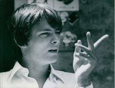 Leonard Whiting gesturing and practicing during shooting of movie Romeo and Juliet.