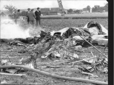 Only rubble remains of the aircraft where the two fields aviator students were killed after a collision.