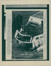 The Herald of Free Enterprise showing the scars of capsizing.