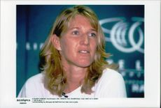 Portrait image of Steffi Graf taken during a tournament in the United States.