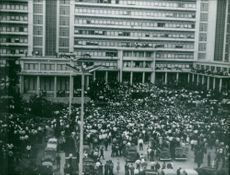 Large mass of people gathered together in Algeria.