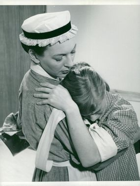 """Swedish actress Barbro Hiort of Ornäs and Bibi Andersson in the film """"Near life"""" directed by Ingmar Bergman."""