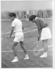 Prince Akihito with his wife Princess Michiko at Tennis Court.