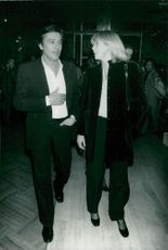 Actor Alain Delon with girlfriend Mireille Darc after a dinner at the palace