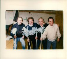 L to R in the celebrate routine. L to R: George Sewell, Lionell Blair, Nicholas Parsons and Peter Simon.