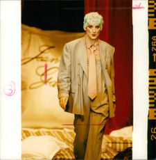Boy George doing a Jean Paul Gaultier catwalk