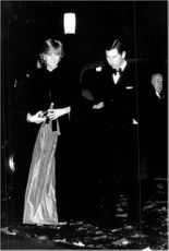 Princess Diana and Prince Charles arrive at a gala concert at Brangwyn Hall.