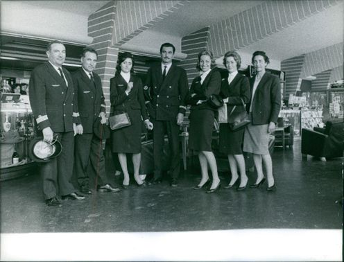 Vintage photo of the crews of Air France Flight 007 before the plane crash in Orly. Photo taken on May 23, 1960.
